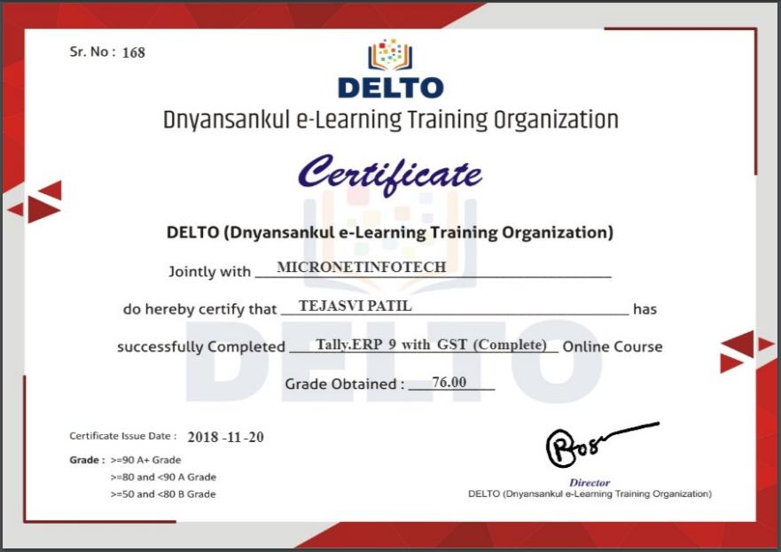 DELTO Certificate